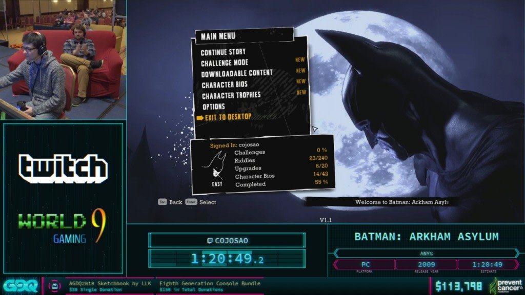 AGDQ 2018 Batman Arkham
