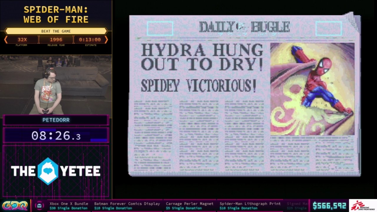 Spider-Man Web of Fire SGDQ 2018
