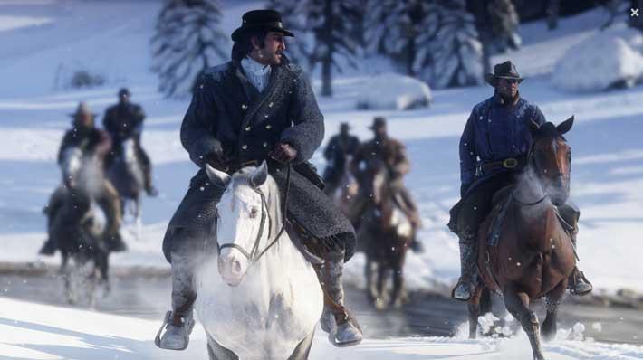 RDR2 snow scene horseback