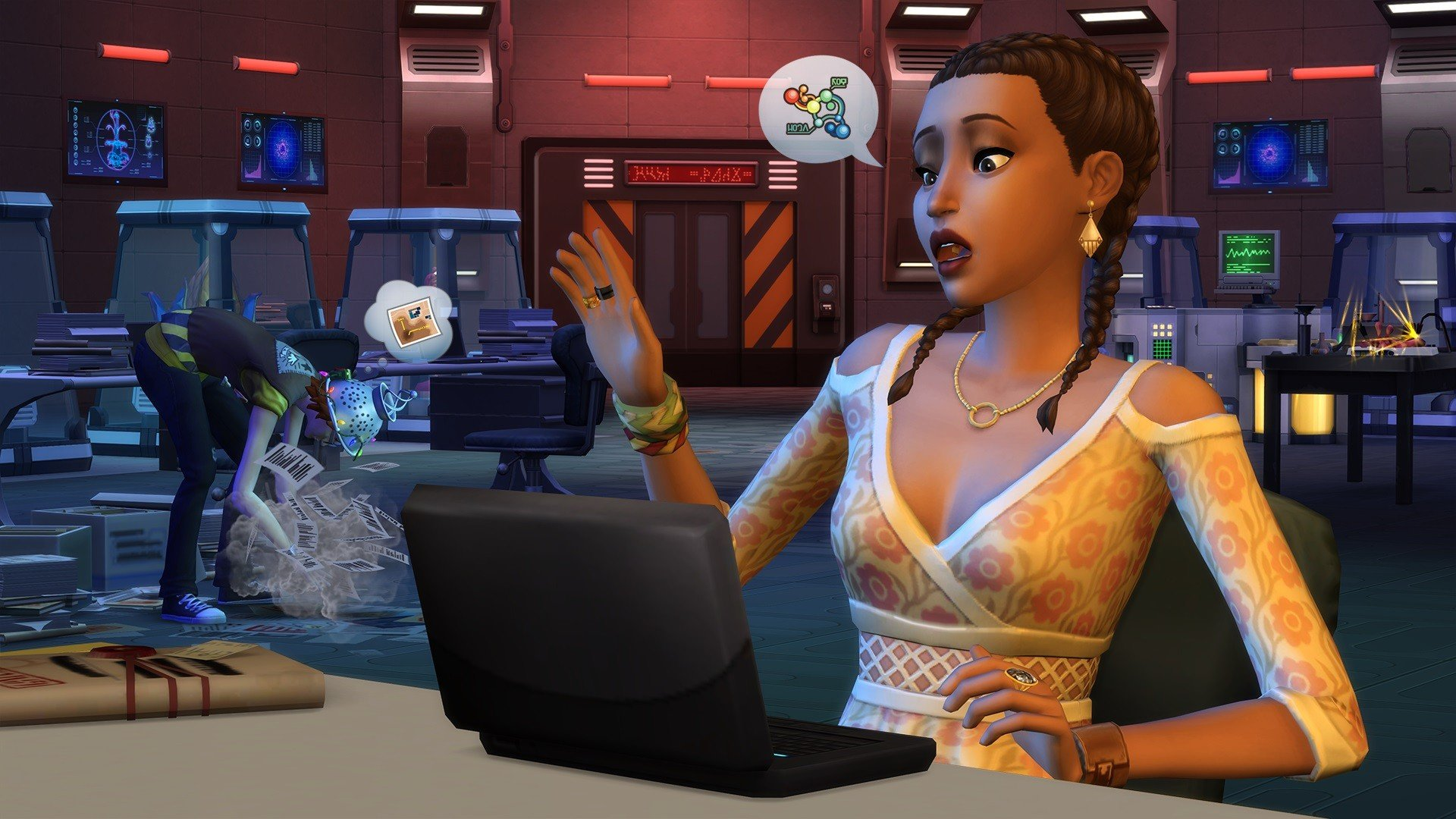The Sims 4 StrangerVille cafe with laptop
