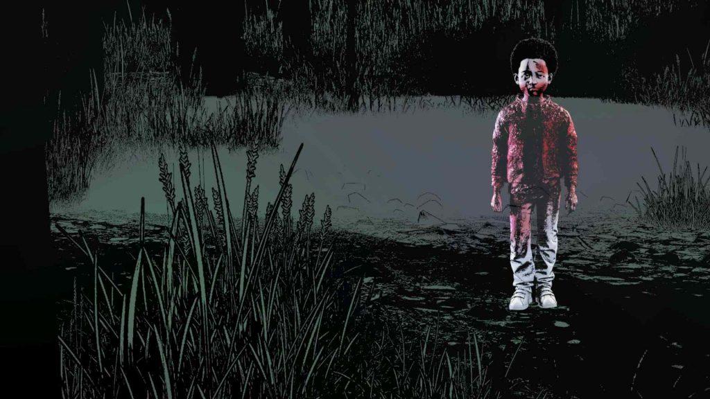 The Walking Dead Final Season AJ Standing in Swamp