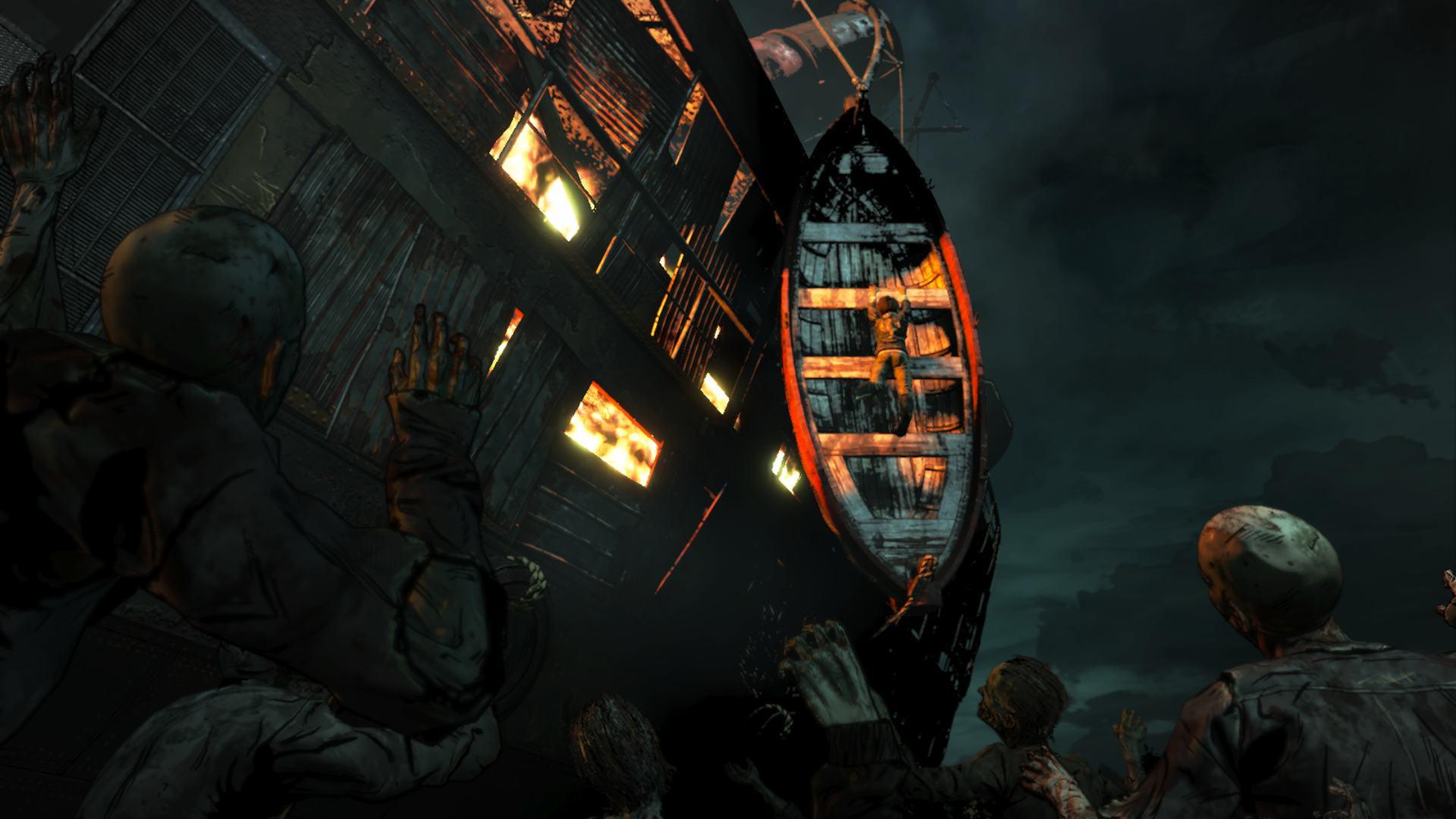 The Walking Dead FInal Season EPisode 4 Clem Hanging from Boat