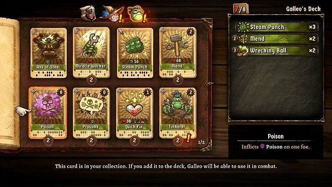 SteamWorld Quest Deck Building Menu