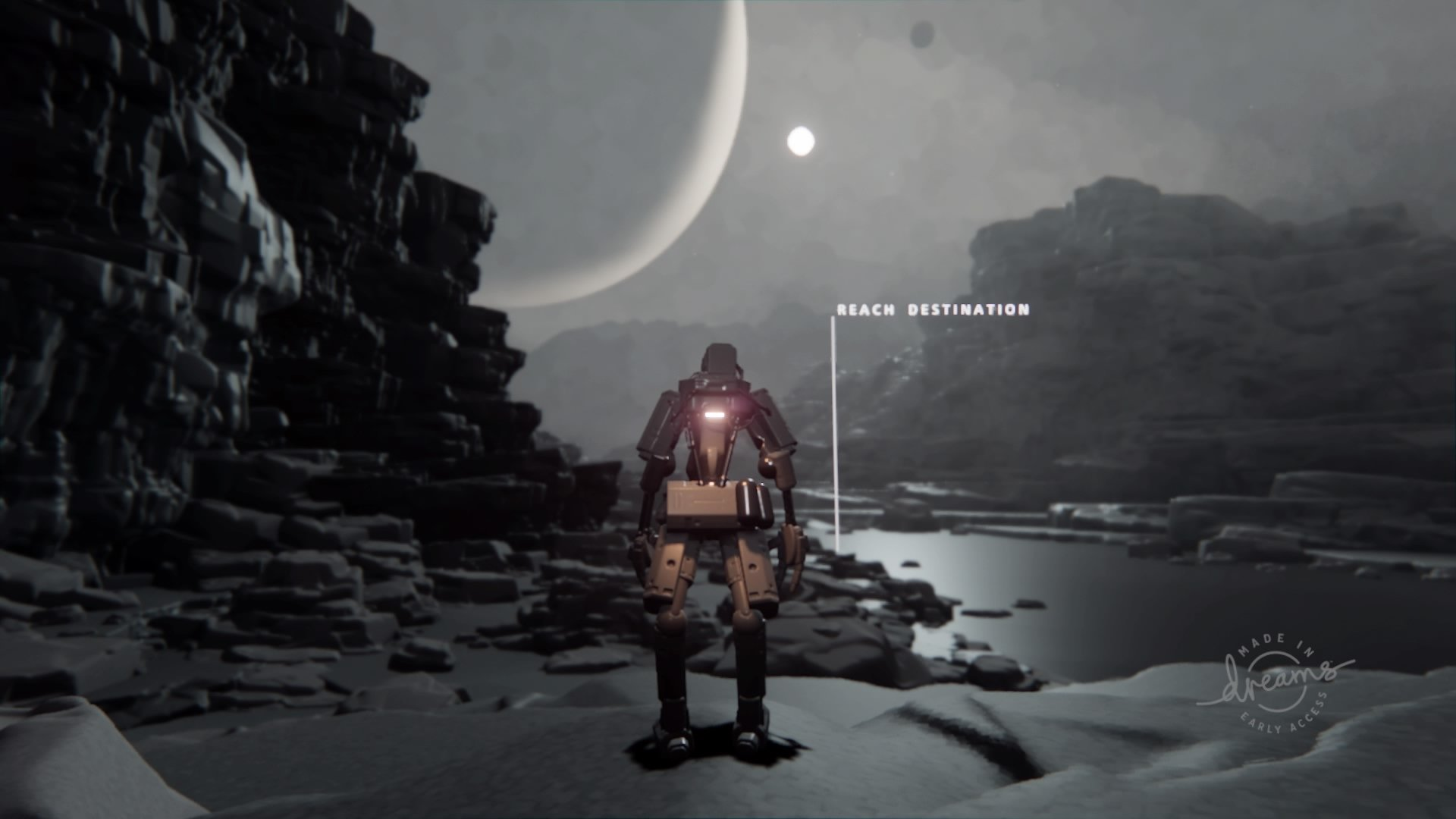 dreams early access robot on desolate alien planet