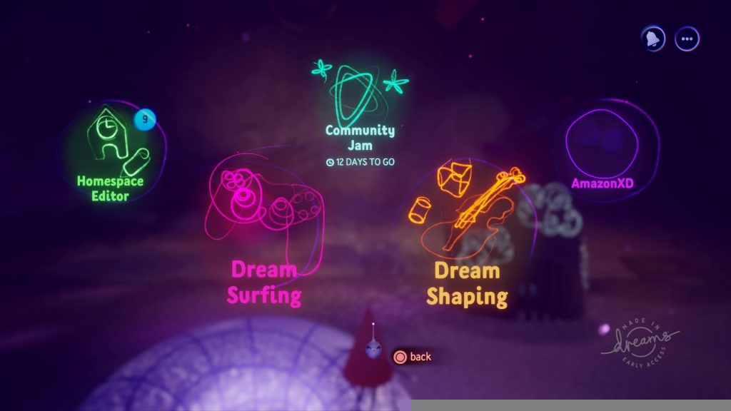 main menu dreams early access icons