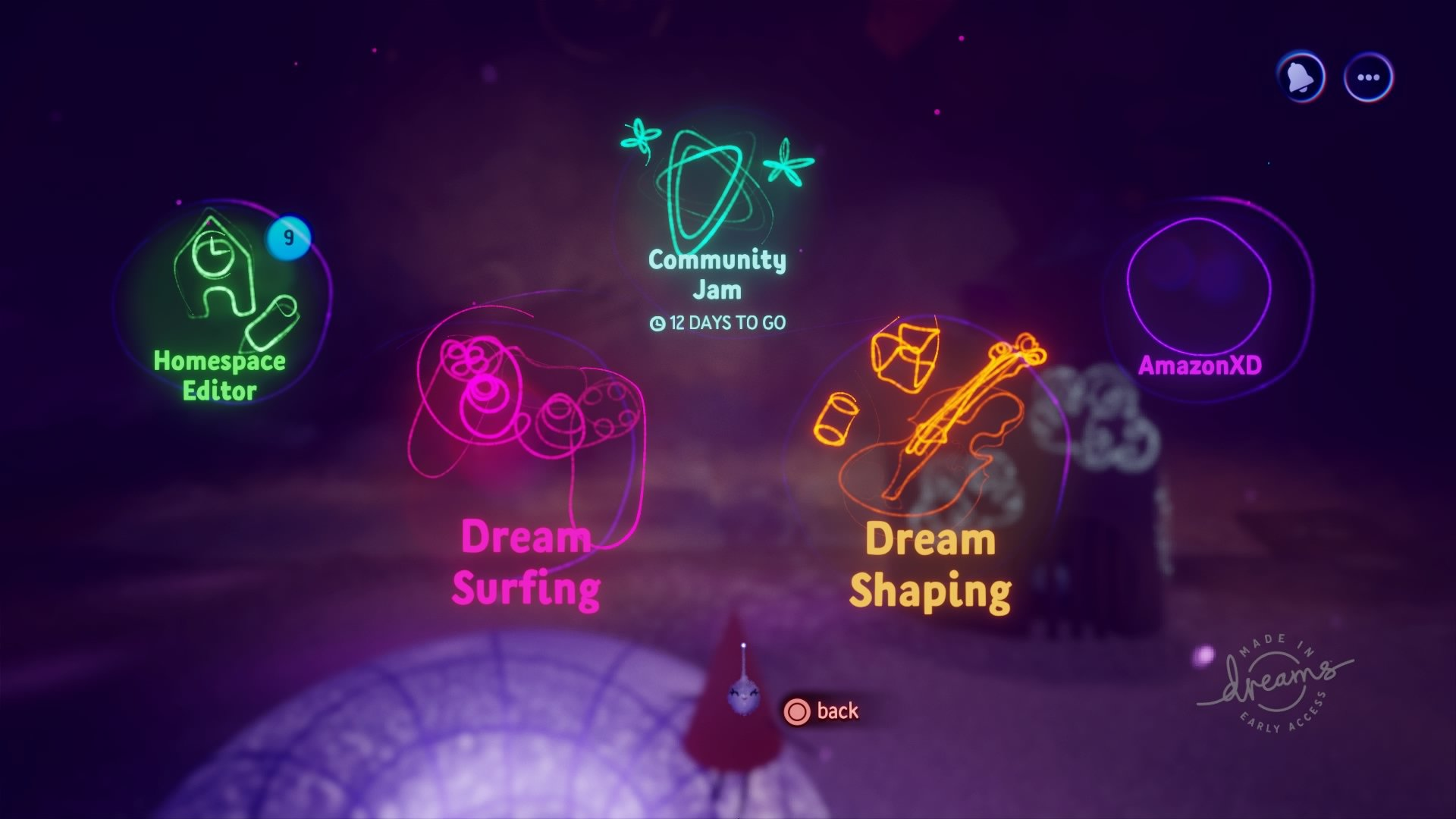 main menu dreams early access icons