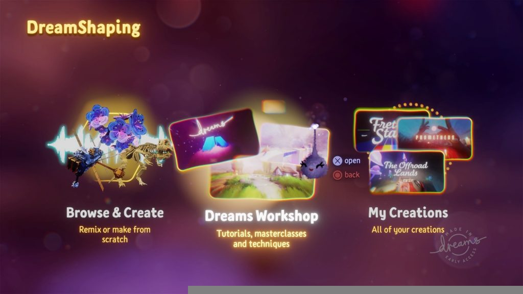 dreams early access dreamshaping main menu