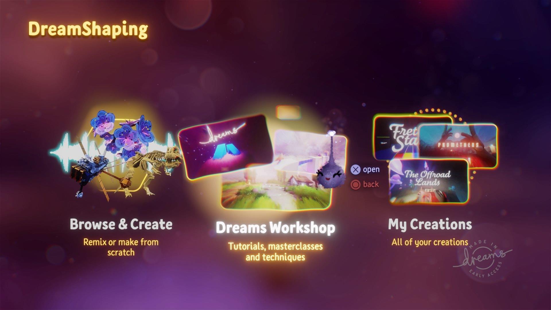 dreams early access dreamshaping main menu