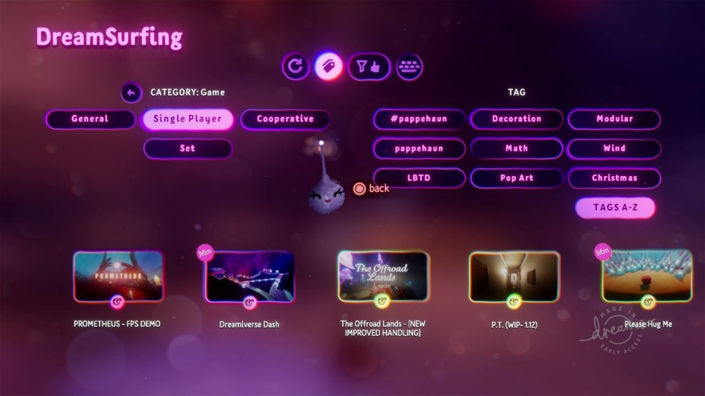 dreamsurfing main menu