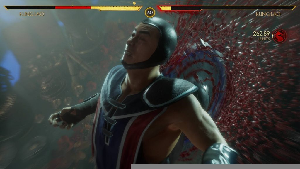 Mortal Kombat 11 Kung Lao Fatal Blow Bladed Hat Sawing his Back