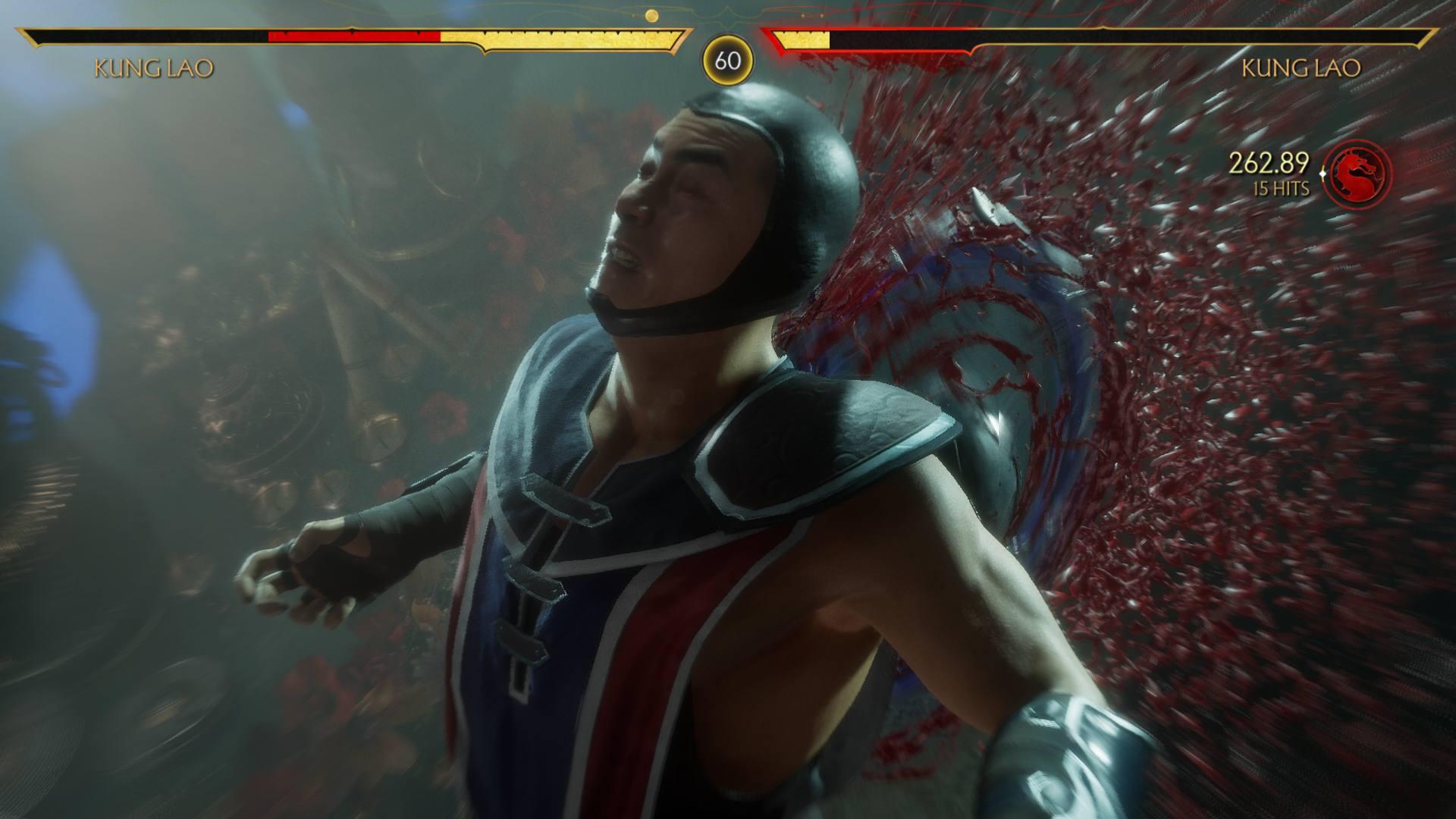 Mortal Kombat 11 Kung Lao Fatal Blow Bladed Hat Sawing his Back