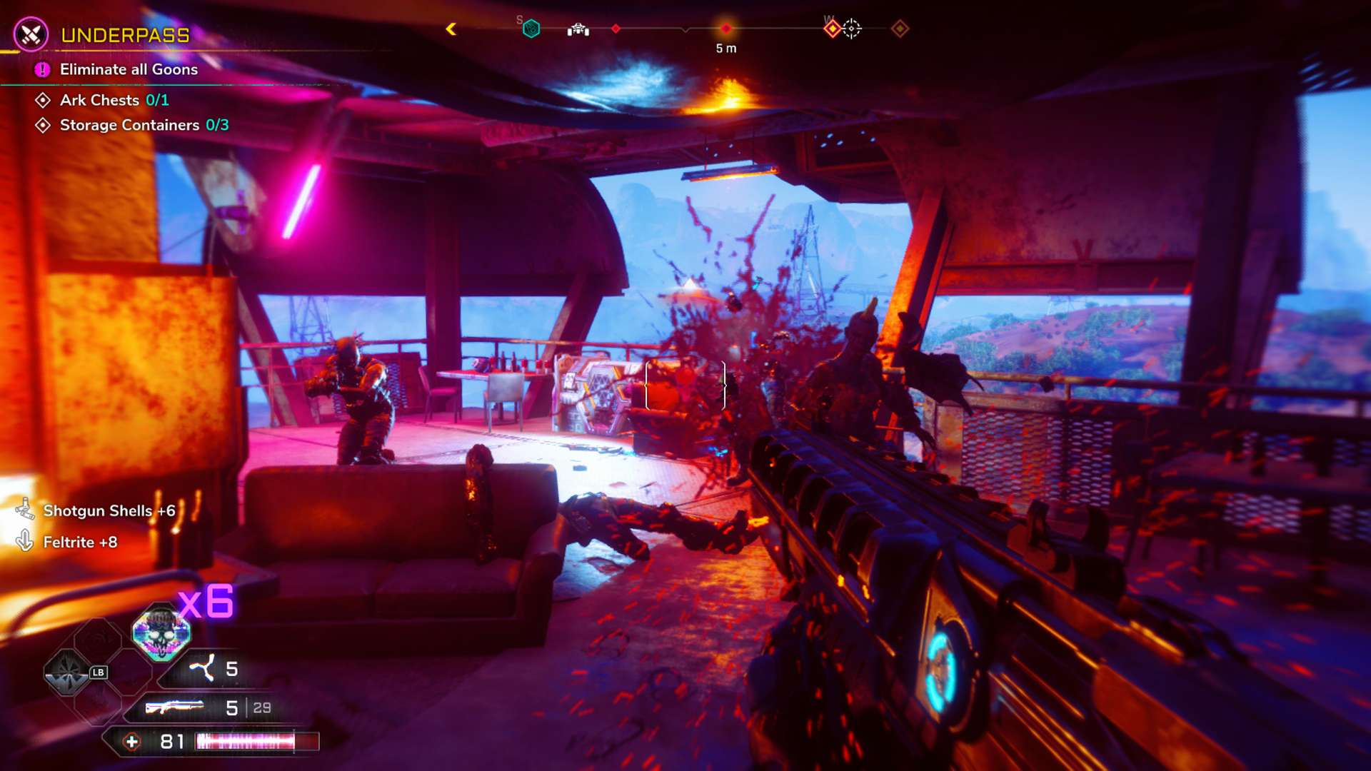 Rage 2 Shooting an Enemy with Overpowered Shotgun in Overdrive Mode