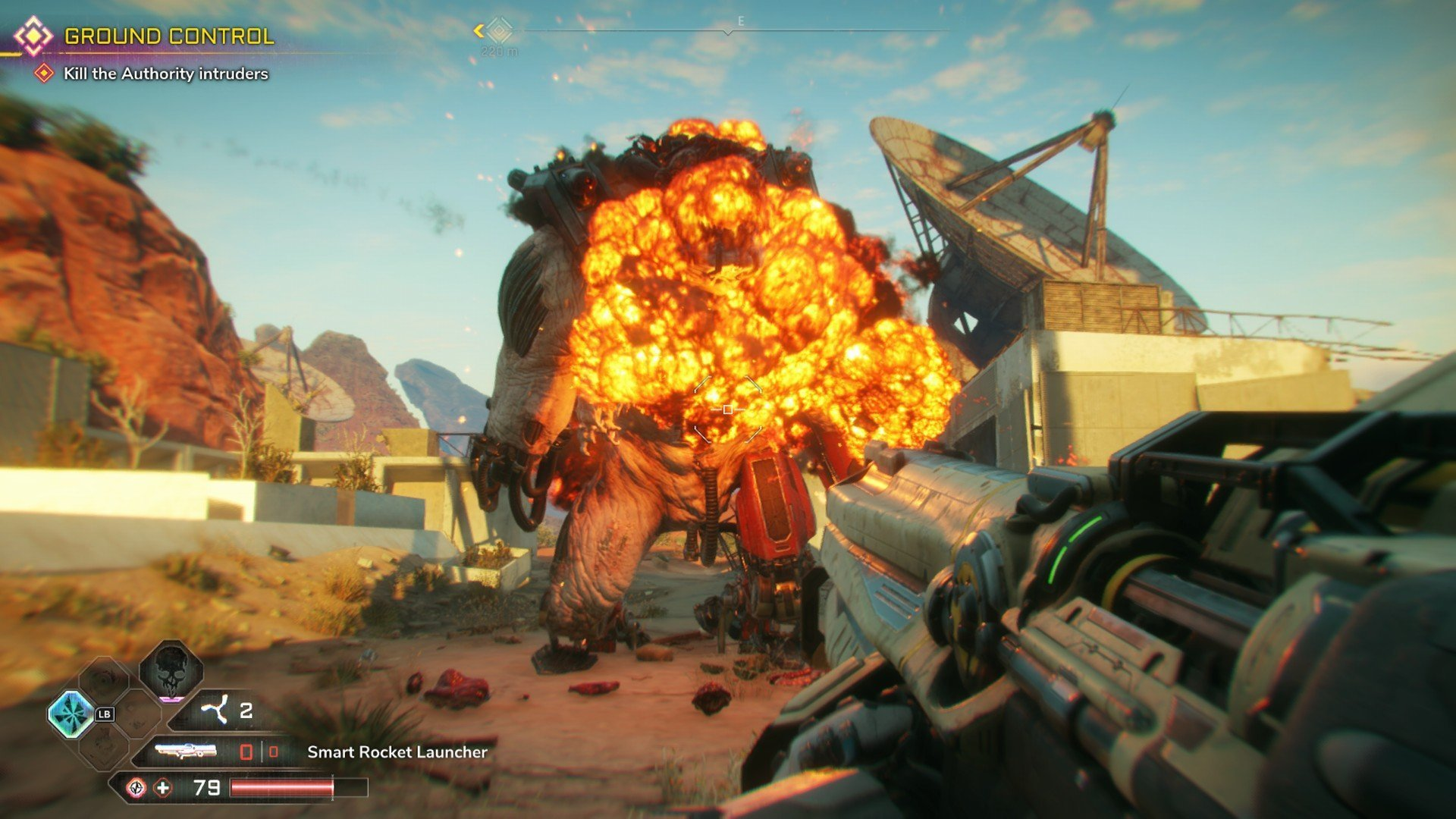 Rage 2 Shooting a Rocket Launcher at an Abadon