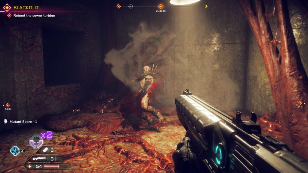 Killing an Authority Enemy with a Shotgun in Rage 2