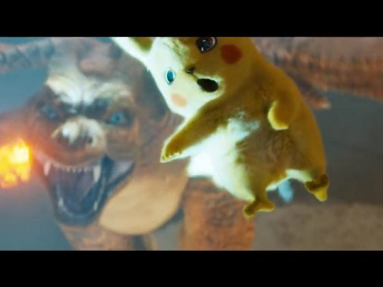 Pikachu narrowly dodges a Charizard attack in Pokemon Detective Pikachu