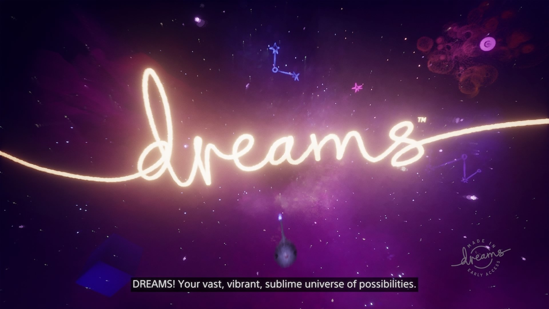 Dreams Early Access TItle Screen
