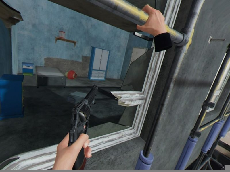 Blood & Truth Hanging out of a Window and aiming a gun