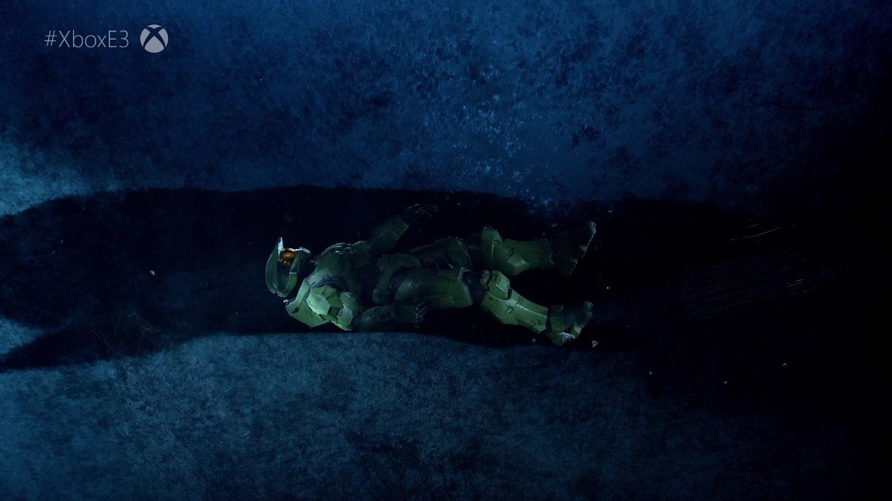 Master Chief floating through space
