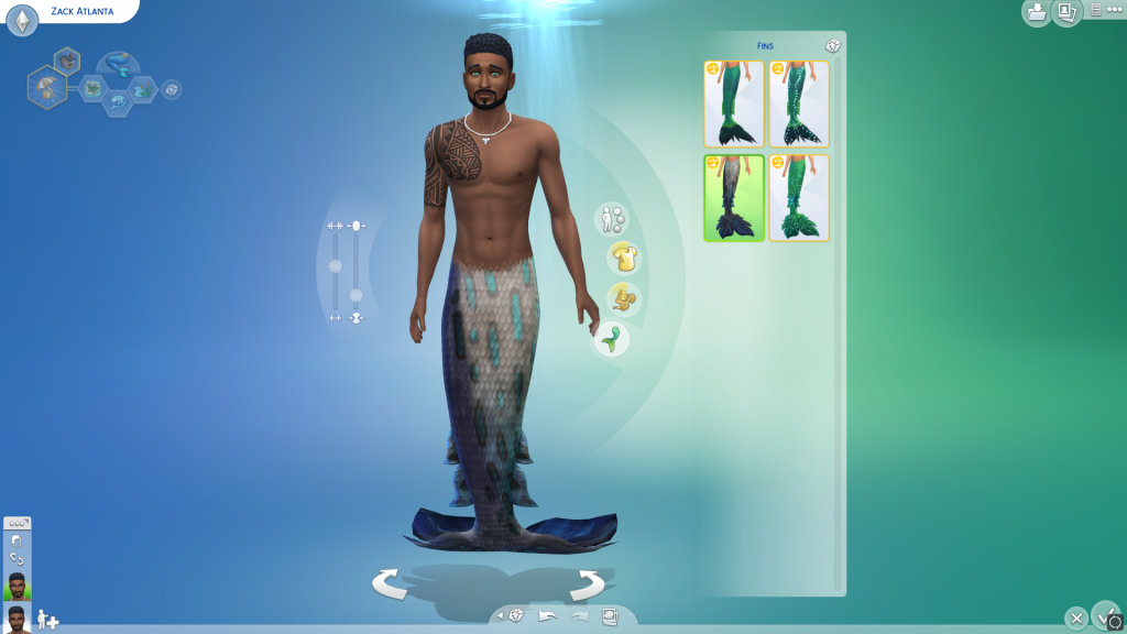 The Sims 4 island living male mermaid