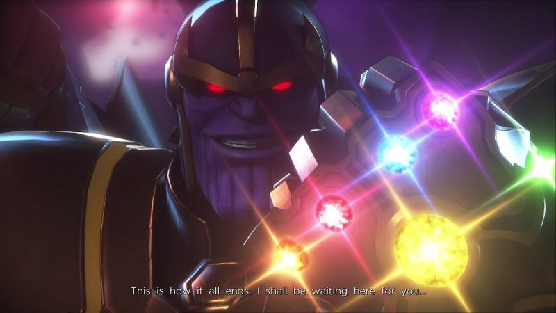thanos with the infinity gauntlet in marvel ultimate alliance 3