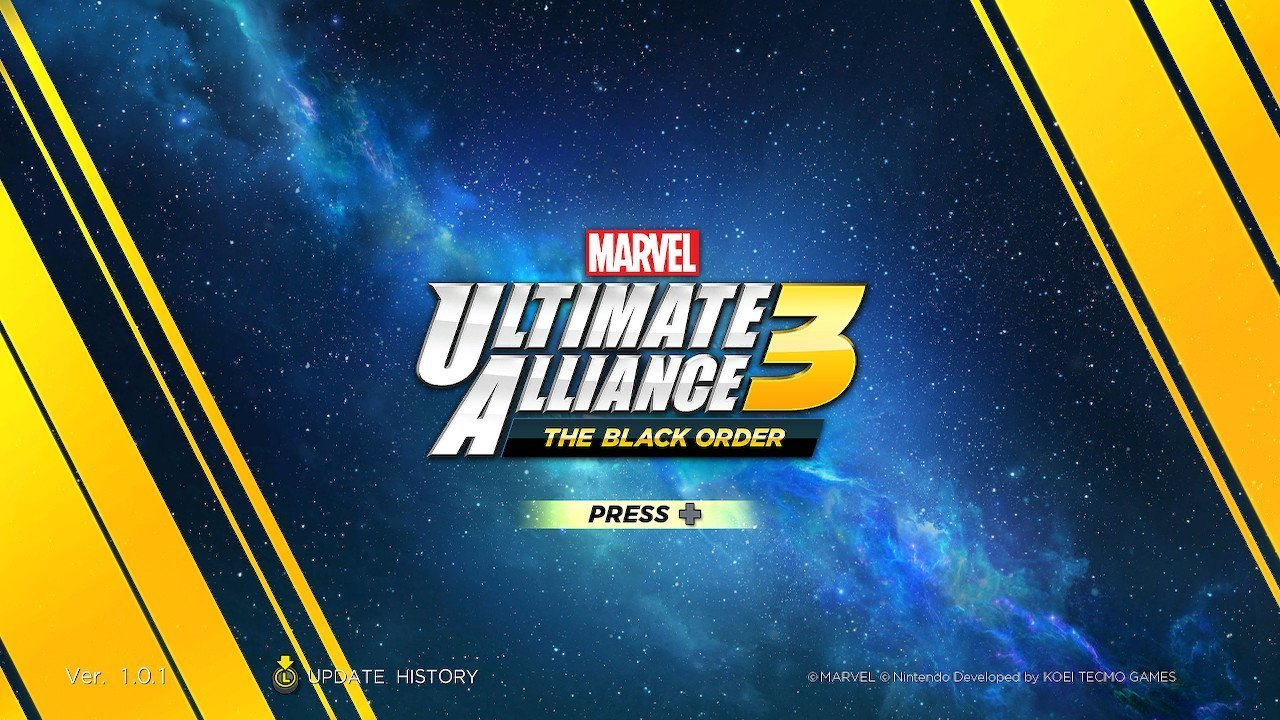 Marvle ultimate alliance 3 title screen