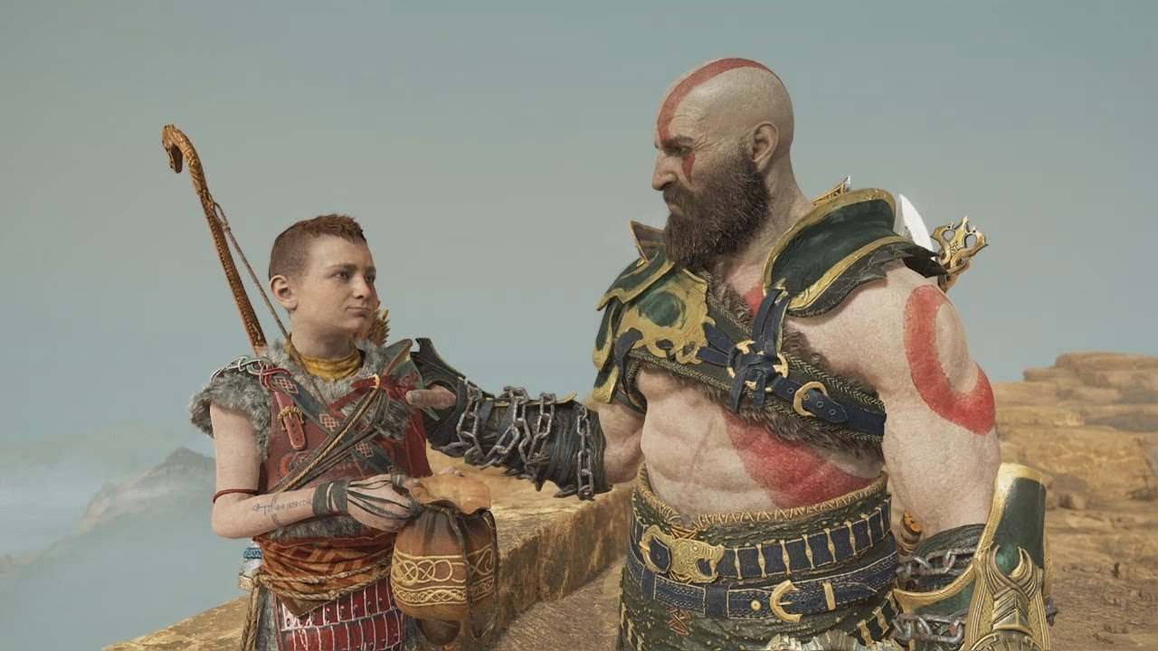 Kratos and son in God of War