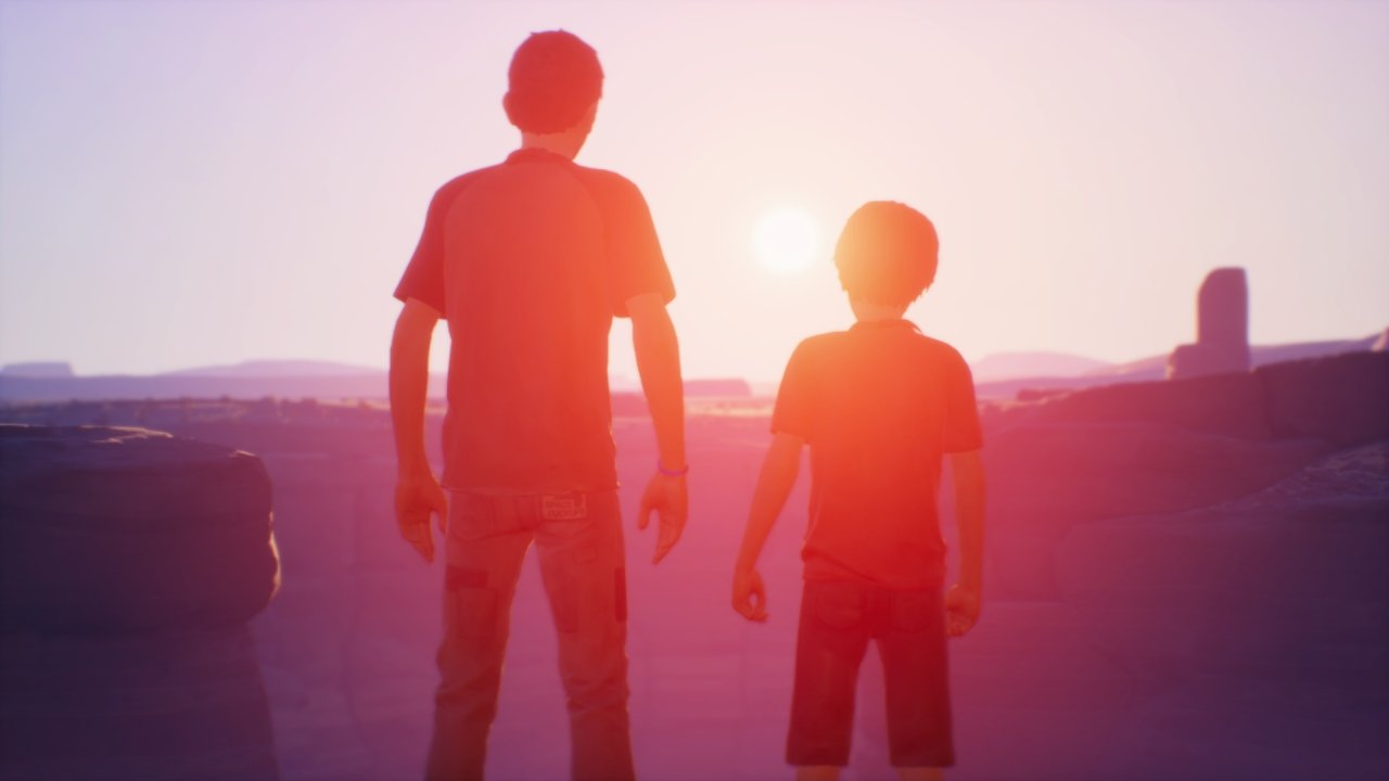 Sean and Daniel watching sunset in Arizona desert