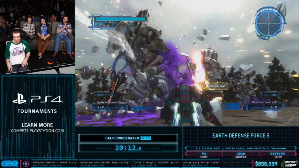 Earth Defense Force 5 at AGDQ 2020