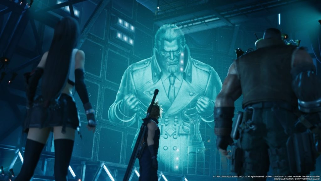 Tifa Cloud and Barret in front of Heidigger Hologram