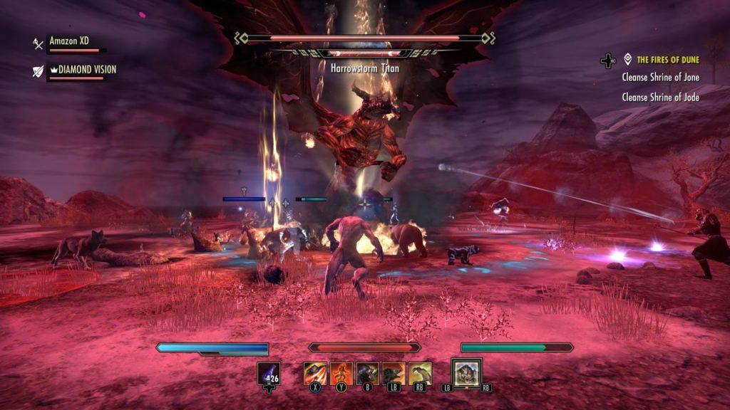 Giant Boss Monster in Red Thunderstorm