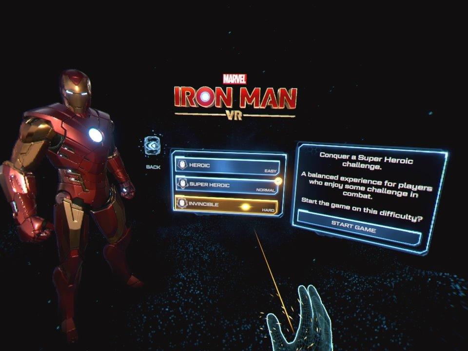 Iron Man VR Main Menu