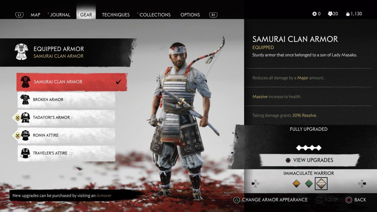 Armor Sets in Ghost of Tsushima
