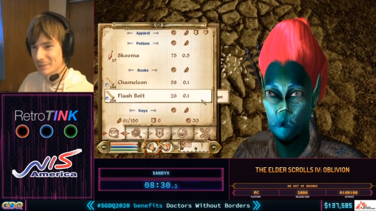 Oblivion Funny Character at SGDQ 2020 Day Two
