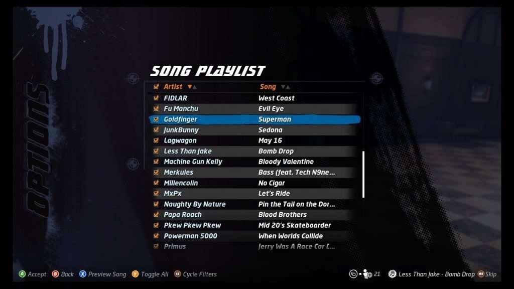 Tony Hawk's Pro Skater Remake Songs