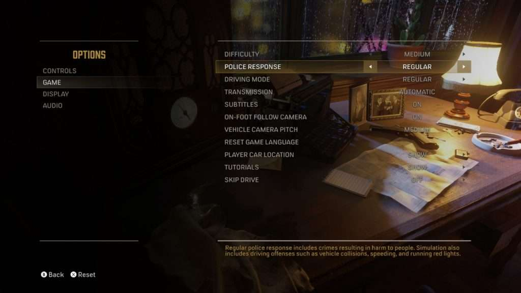 Mafia Definitive Edition Difficulty Settings