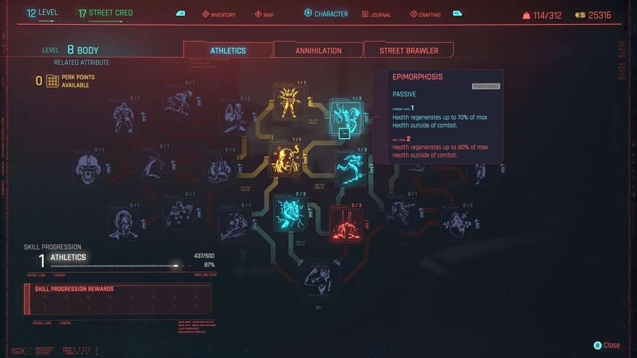 Athletics Skill Tree Cyberpunk 2077