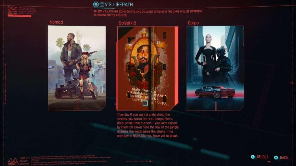 Cyberpunk 2077 Lifepaths
