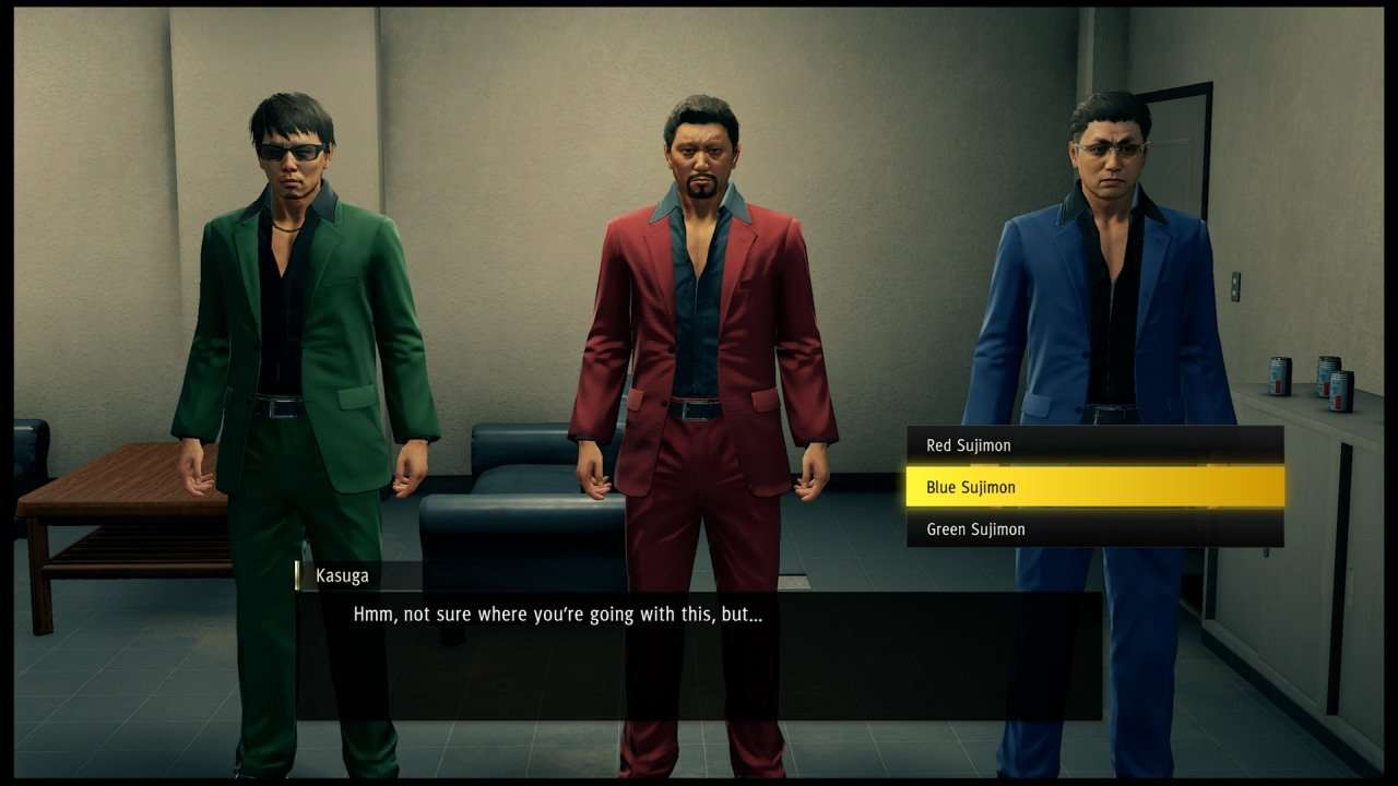 Yakuza Like a Dragon Three Men in Different Colored Suits