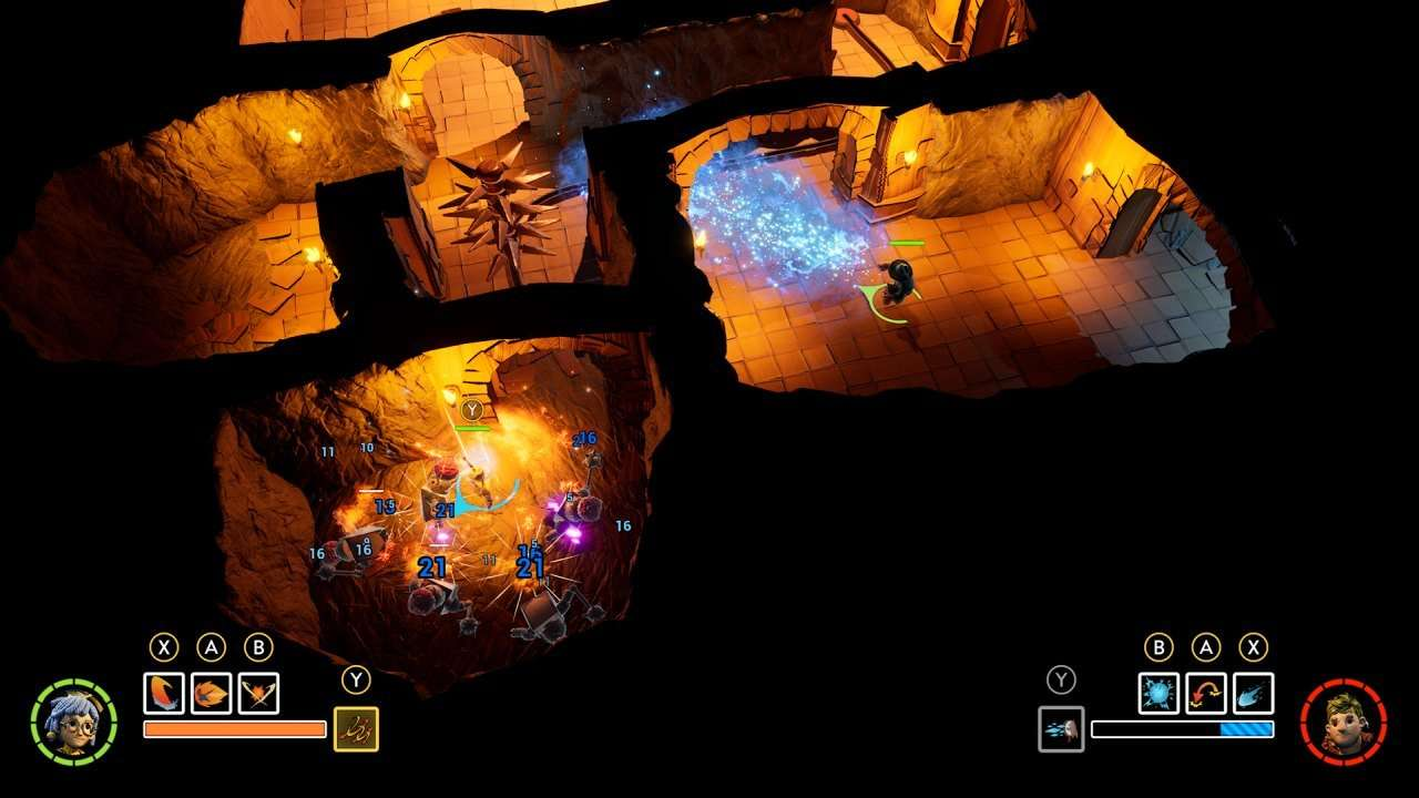 Cody and May explore a dungeon from a top-down perspective