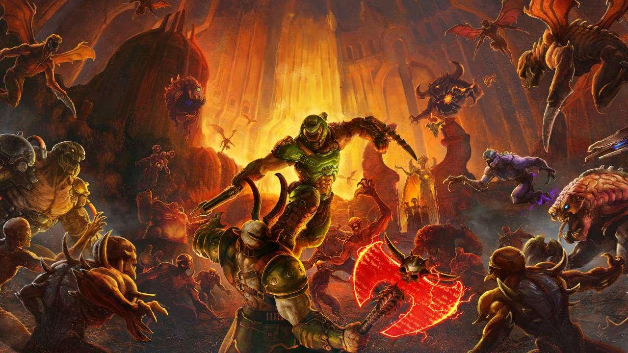 Doomslayer Fighting Hordes of Demons