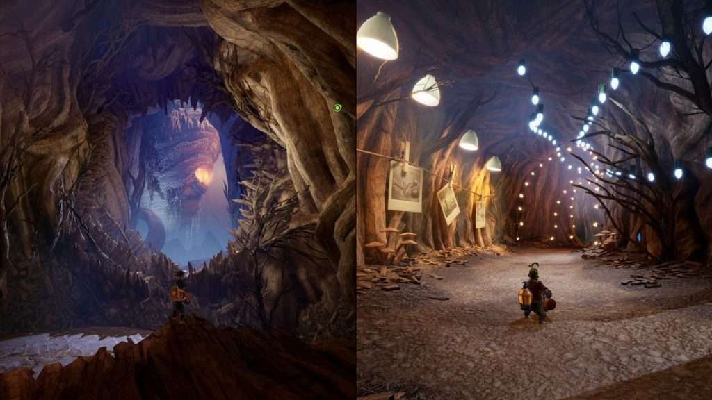Split screen gameplay of players exploring a cave system