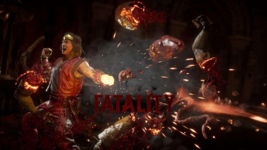 Liu Kang performs the Burn Out fatality in Mortal Kombat 11