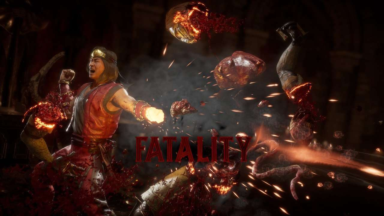 Liu Kang performs the Burn Out fatality in Mortal Kombat 11