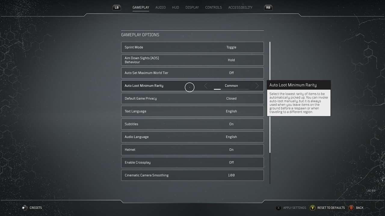 Outriders Auto Loot Minimum Rarity Setting