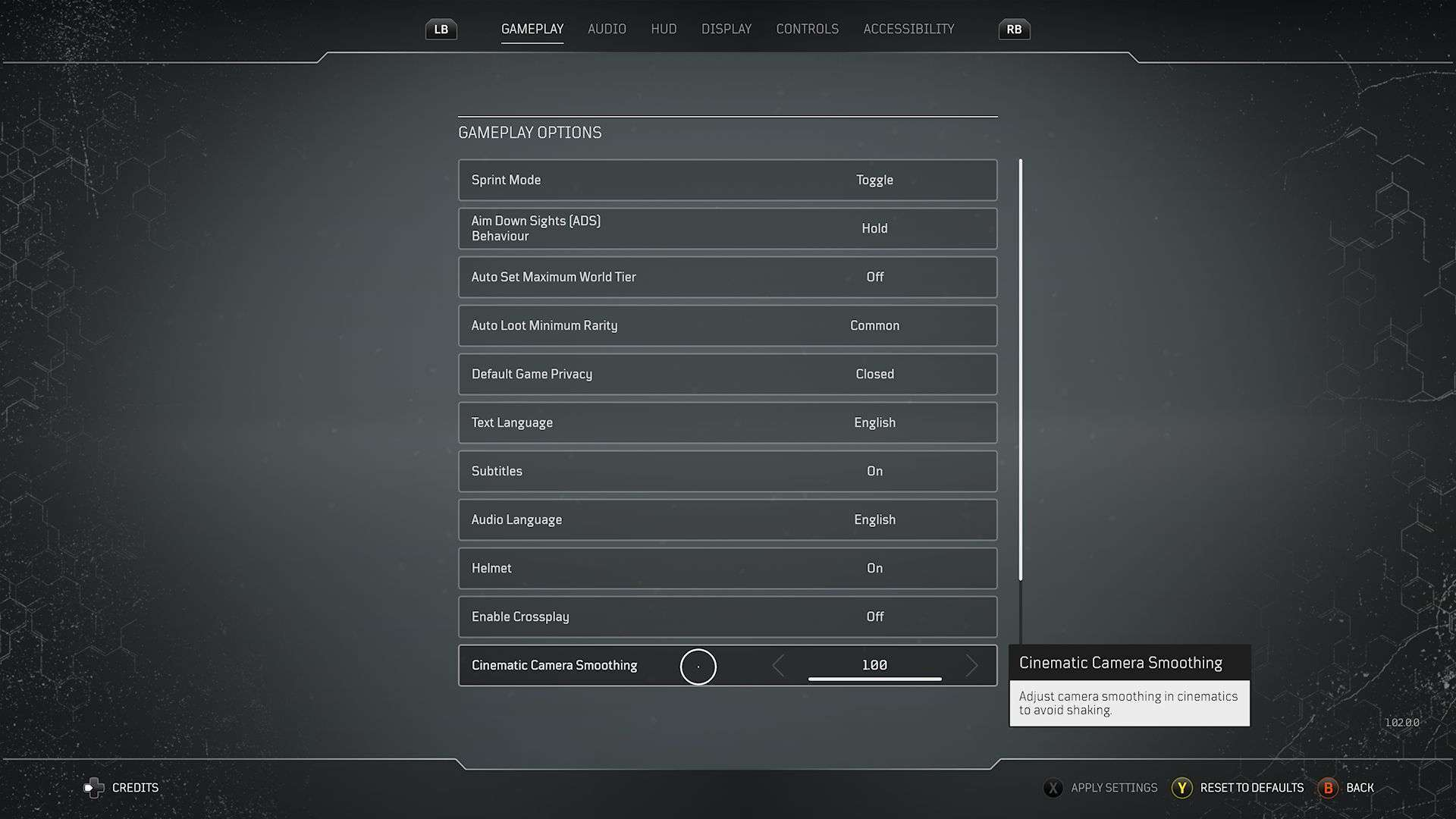 Outriders CInematic Camera Smoothing Option