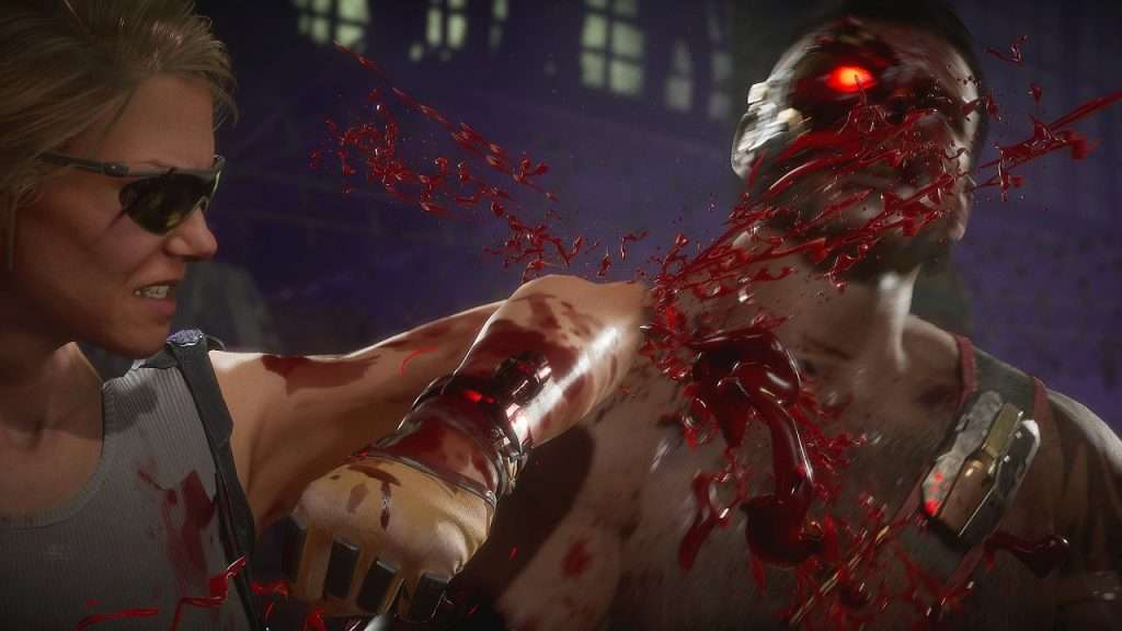 Sonya Blade elbows Kano in the face in Mortal Kombat 11