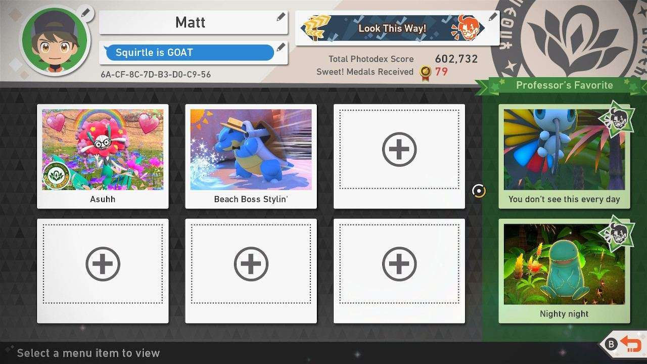 New Pokemon Snap Online Profile Page