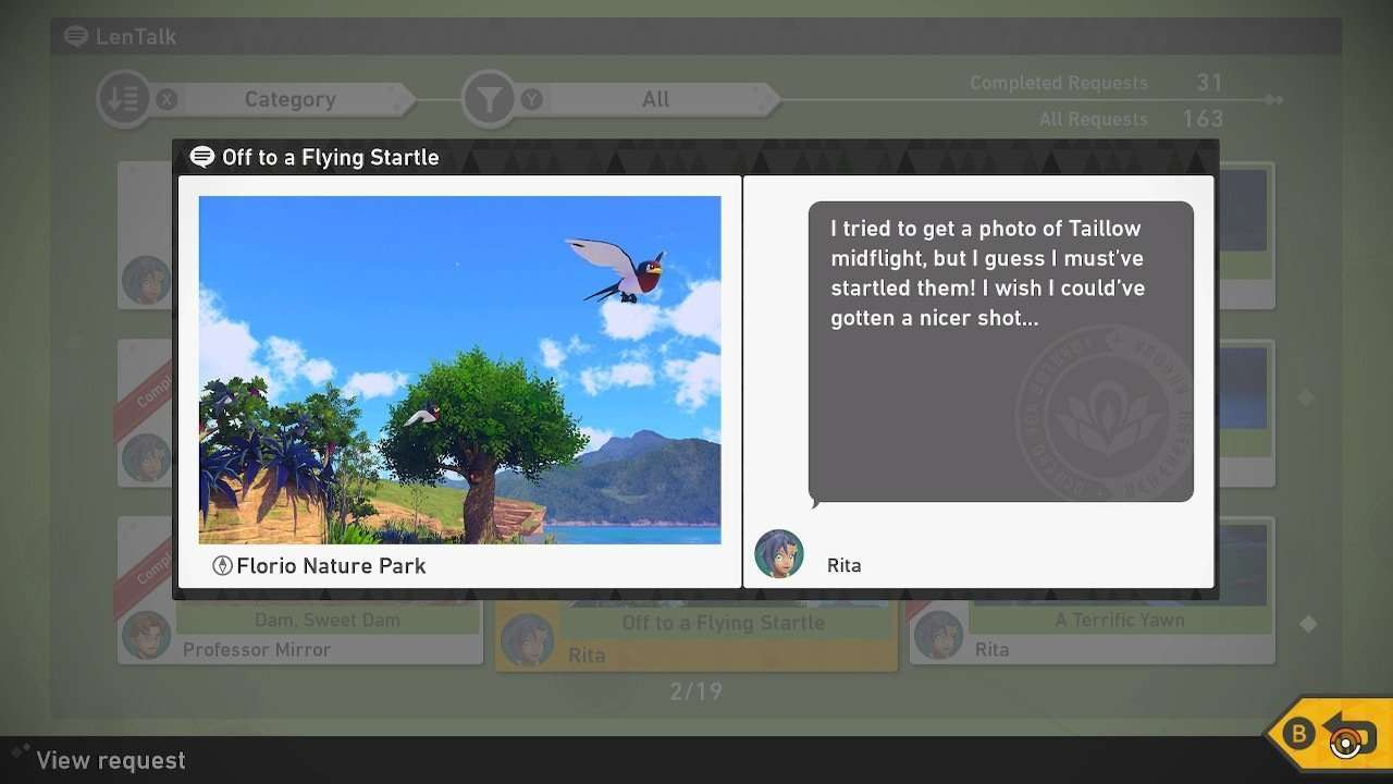 Off to a Flying Startle Photo Request in New Pokemon Snap