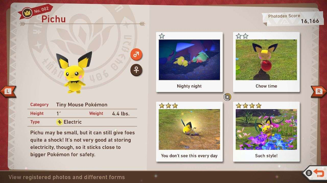 The Photodex page for Pichu in New Pokemon Snap