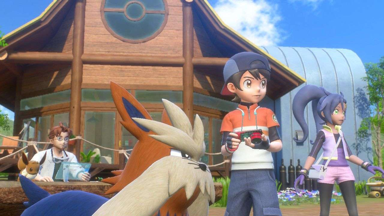 Characters hang out at the LENS camp in New Pokemon Snap